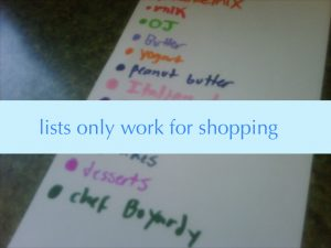 lists only work for shopping